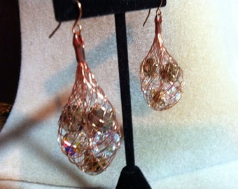 Copper Cage Swarovski Crystal Earrings