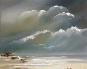 Seascape oil painting, restful scene of evening seascape, seaside oil painting, Oil painting of evening seascape, Beach scene dark skies
