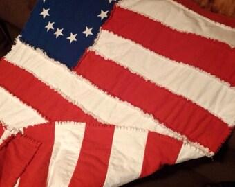 Flag toddler rag quilt