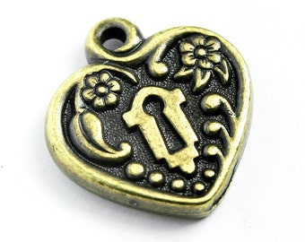 Brass Oxide Victorian Keyhole Heart Frame, 20x19mm, Set of 2, with Antique Brass Finish, Made in USA, #TC146