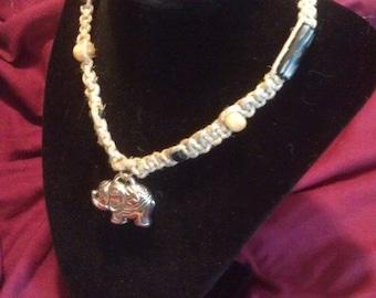 Hindu-Inspired Elephant Hemp Necklace with Bone Beads