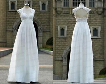 Lace wedding dress,can sleeve wedding dress,ivory/white wedding gowns,bridal dres,handmade chiffon bridal dress