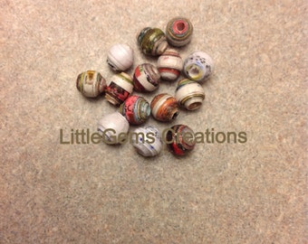 "New hand made 25 x 1/4"" ( up - cycled) paper beads"