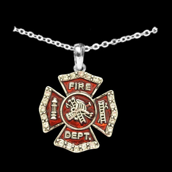 Fire Department Maltese Cross Necklace: Fire Department Rhinestone Necklace
