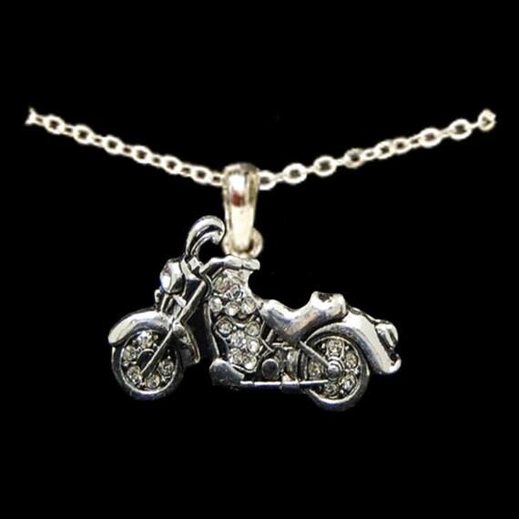 motorcycle rhinestone necklace