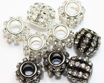 5pcs Jewellery Findings Big hole Beads,Clear rhinestone and Brass,10*12mm ball ,5mm hole.- MER0087
