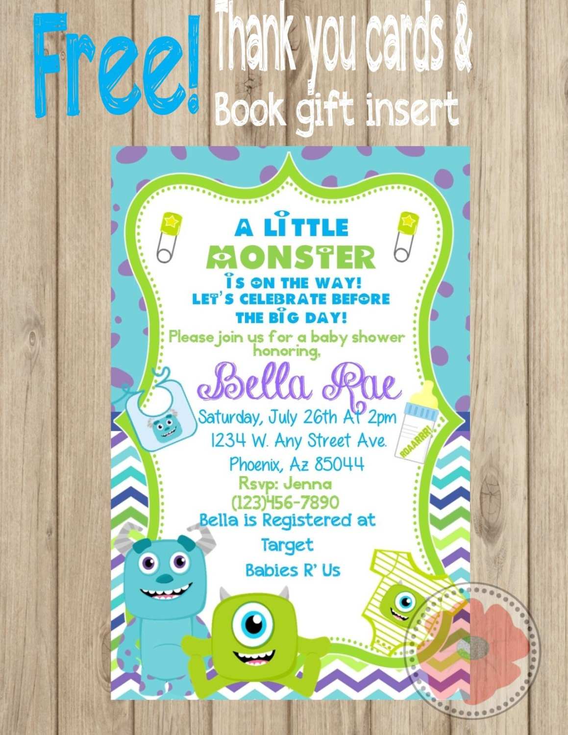 Monsters Inc Inspired Baby Shower Invitation | Shower invitations ...