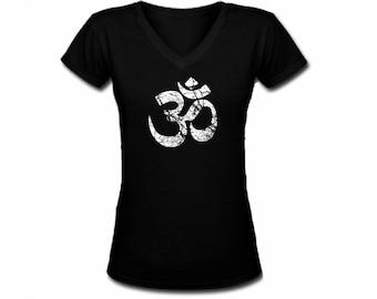 Yoga symbols Ohm distressed print black v neck customized women t shirt -fit the body