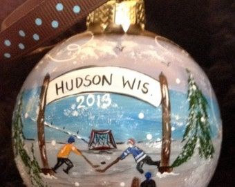 Hand Painted Ornaments by Les ~ Hudson,Wi Hockey1 ~ Original