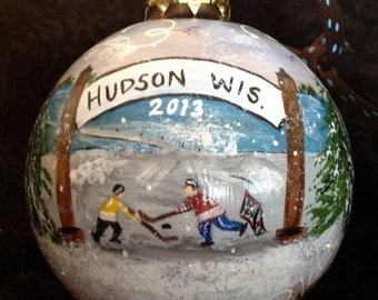 Hand Painted Ornaments by Les ~ Hudson,Wi Hockey2 ~ Original  Ornament