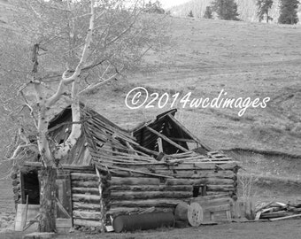 Digital Art Photography Black and white Old Barn Fine Art Home Decor