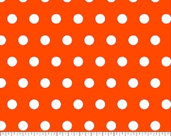 Orange Polka Dot  Fabric, Bright Orange Fabric, Fabric by the Yard, sewing fabric, Quilt Fabric