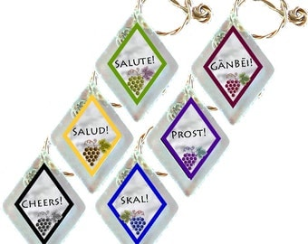 "Wine Glass Charms ""Cheers"" from rescued, repurposed window glass~When you don't want to share, mark your glass!"