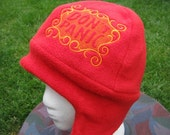 REVERSIBLE Red and Orange Don't Panic Fleece Ear Flap Hat