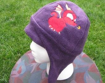 Adorable Dragon Purple and Black Fleece Ear Flap Hat