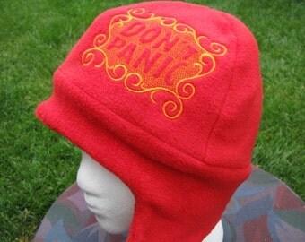 REVERSIBLE Red and Orange Don't Panic Fleece Ear Flap Hat