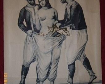 "Vintage bicolor lithographic print by J. Roger Segalat Collection, ""L'Adultere Puni"", France, 1967"