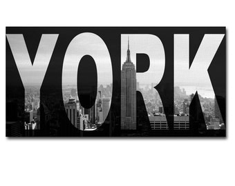 New York Canvas Art Print Panel, Wall Painting Art, Framed home decor office decor 45 cm x 25 cm : Ready to Hang!