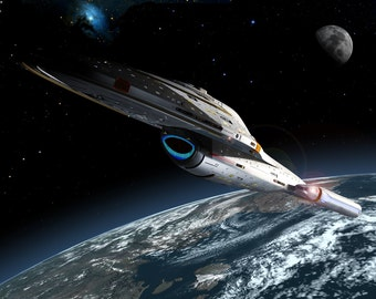 Star Trek Digital Art  Glossy Print  'Voyager In Earth Orbit'