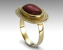 Braided gold ring, 14K Gold, Vintage style, Red carnelian ring, Classic engagement ring, Oval Burgundy ring, Bridal jewelry, statement gift