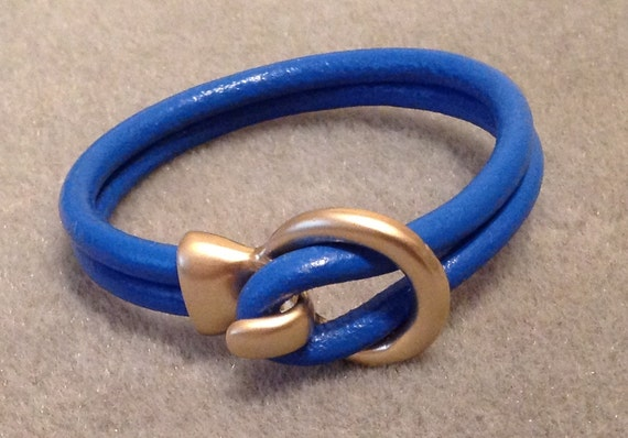 SALE  Leather Cuff Bangle Bracelet Boho Chic Trendy Jewelry Electric Blue Matte Gold Circle Hook Clasp   CL1464A
