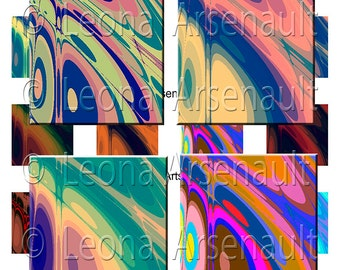 Digital Art Fractals -  Instant Download Sheet // Pattern in a variety of colors // 1.5 x 1.5 Inch - Designs by Leona Arsenault // PhoArts