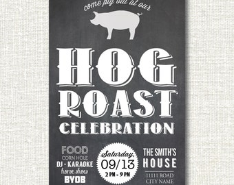 Hog Pig Roast Party Cookout Chalkboard 4th of July Labor Day Memorial Day Grill Out Invitation