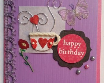 Pink & Purple Happy Birthday Card