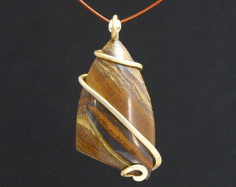 Large Tiger Iron Cold Forged Brass Pendant