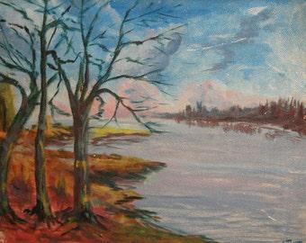 Vintage Oil Painting, Landscape River, Signed
