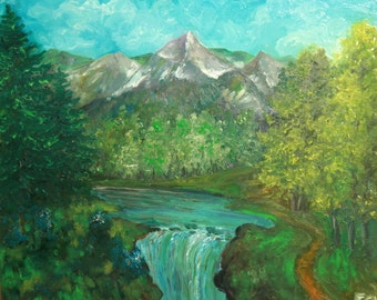 Oil Painting, Mountain River Landscape,Signed