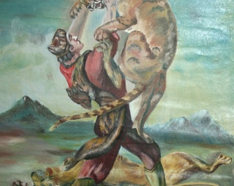 Antique Oil Painting, Male Fighting With Lions