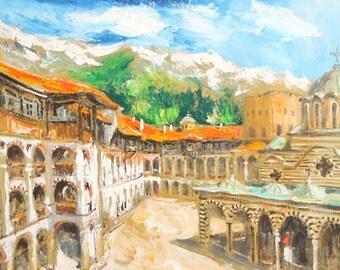 Vintage oil painting monastery landscape