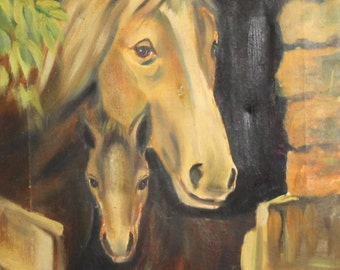 Vintage impressionist oil painting horses