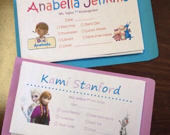Personalized School Money Envelopes
