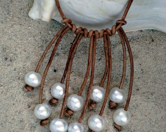 LEATHER/ PEARL NECKLACE  (Carolyn)