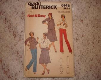 Butterick Quick Pattern 6145 Misses' Top, Skirt and Pants Size 12 Uncut