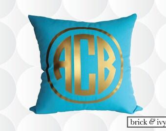 Monogram Throw Pillow Cover - Gold or Silver - Circle Monogram Pillow Cover