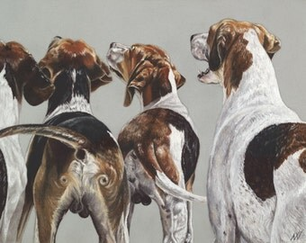 Limited Edition Glicee Print, mounted, hounds