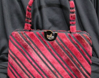 Vintage Velvet Black & Red CROWN LEWIS Purse Handbag 1950's -