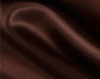 Satin Fabric Bolt Chocolate Brown Charmeuse Fashion Textile, 10 yards