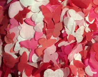 Butterfly Heart Biodegradable Confetti - Red, Pink, & White - Handmade in the UK