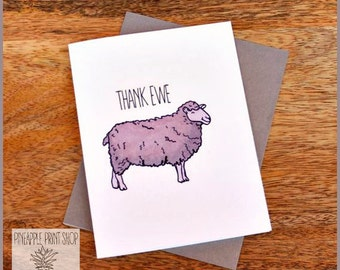Thank Ewe Card for Friends Family Grateful Cute Quirky Funny