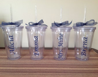 Tumbler with Name placed Vertically - Your Choice Color and Font!