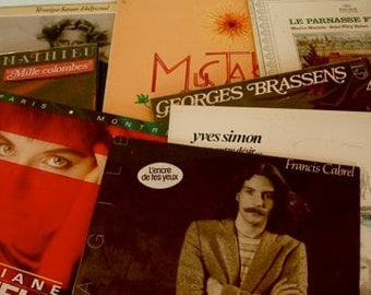 Collection of Vintage French Record Albums:  15 from 60s and 70s