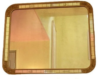 Vintage Mirror with Faceted Mirror Insets