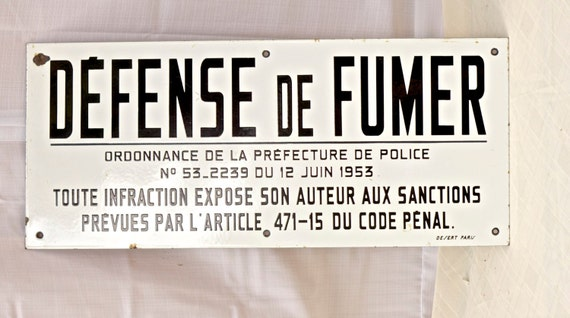 antique enamel french sign defense de fumer. Black Bedroom Furniture Sets. Home Design Ideas