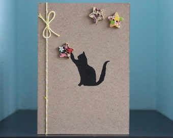 Handmade 'Catch a Star' Cat Greeting / Birthday Card (blank) (recycled card)