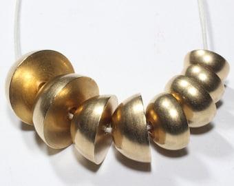 5 Pcs Raw Brass Half Ball (10,12,14,16) - Raw Brass Ball - Raw Brass Necklace - Crescent Balls , KA