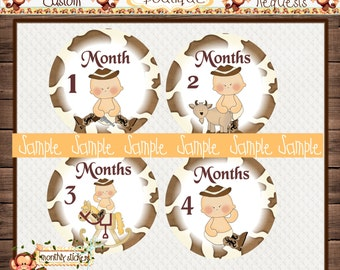 Cowboy Babies Monthly Baby Milestone Stickers Baby Boy One-Piece Baby Stickers Monthly Baby Stickers Baby Month Stickers {M8}